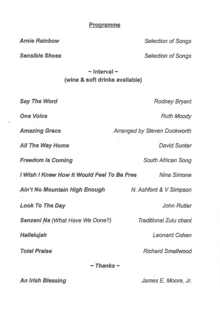 Gospel Concert Programme